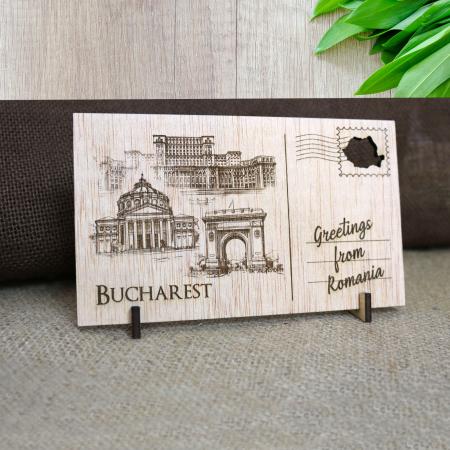 Carte Postala suvenir, din lemn, Gravata, Visit Bucuresti [4]