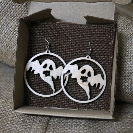 """Cercei Halloween """"Fantoma mea iubita"""", din lemn, decupati laser [0]"""