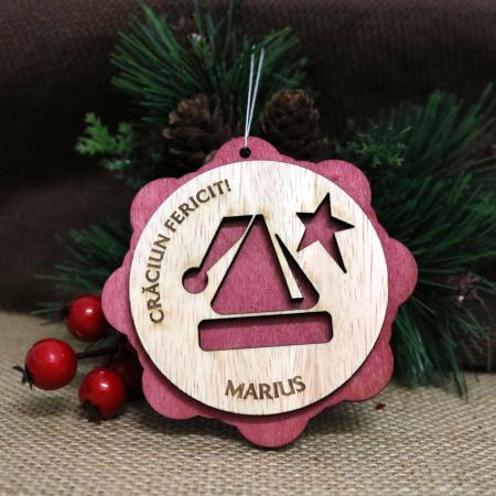 "Glob De Craciun Din Lemn, Personalizat, ""Christmas gift""0"
