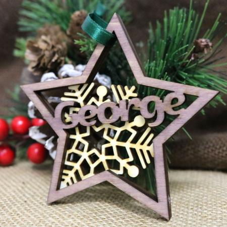 """Glob De Craciun Din Lemn, Personalizat, """"Christmas Joy""""0"""
