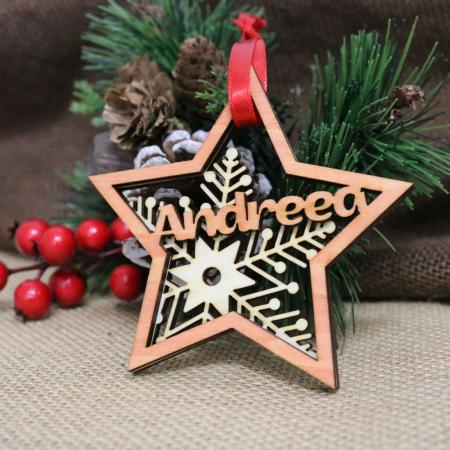 "Glob De Craciun din lemn, Personalizat, ""Christmas Spirit"""