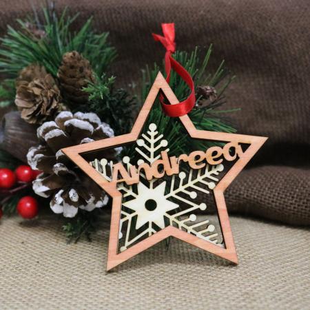 "Glob De Craciun Din Lemn, Personalizat, ""Christmas Spirit"" [1]"