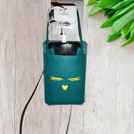 """Husa telefon pentru incarcator, din piele, personalizata, """"Pisica"""" (culoare: turcoaz) [3]"""