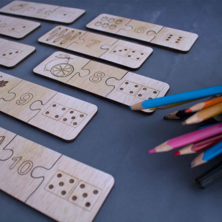 "Joc educativ pentru copii , din lemn, ""Sa invatam sa numaram"" [0]"