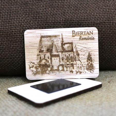 Magnet de frigider suvenir, din lemn, gravat, Biserica Fortificata Biertan, Biertan, Sibiu [1]