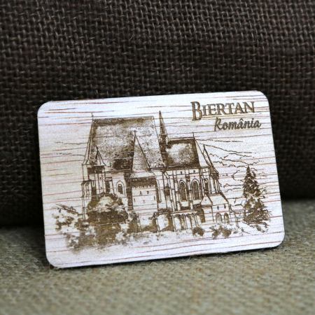 Magnet de frigider suvenir, din lemn, gravat, Biserica Fortificata Biertan, Biertan, Sibiu [0]