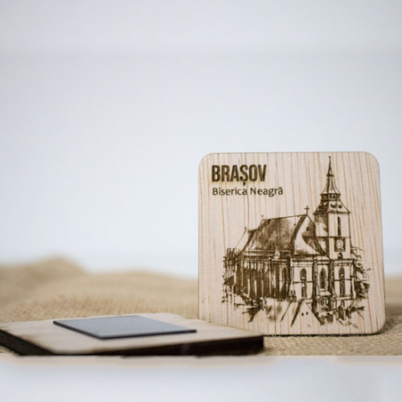 "Magnet De Frigider din lemn, gravat ""Biserica Neagra"" Brasov [1]"