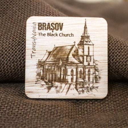 "Magnet De Frigider din lemn, gravat ""Biserica Neagra"" Brasov [2]"