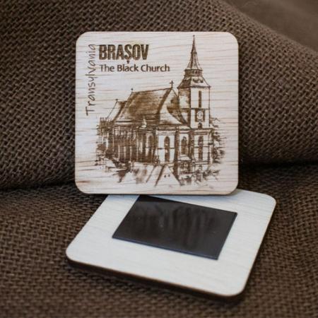"Magnet De Frigider din lemn, gravat ""Biserica Neagra"" Brasov [3]"