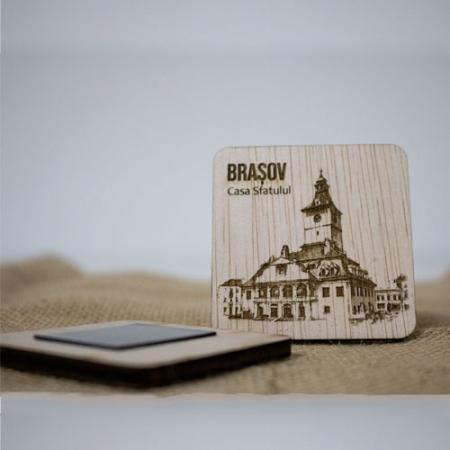 Magnet de frigider din lemn, gravat, Casa Sfatului Brasov1