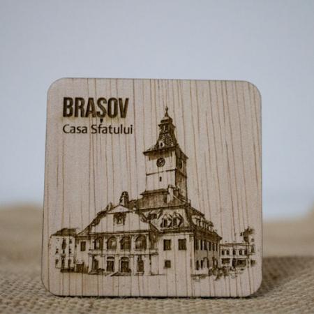 Magnet de frigider din lemn, gravat, Casa Sfatului Brasov0