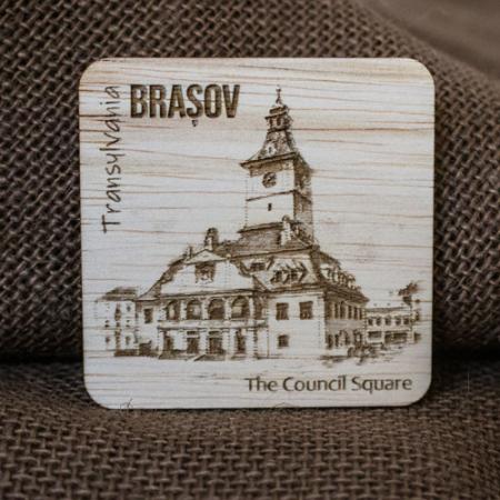 Magnet de frigider din lemn, gravat, Casa Sfatului Brasov2