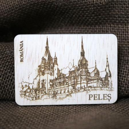 "Magnet de frigider din lemn, gravat ""Castelul Peles"" Sinaia [0]"