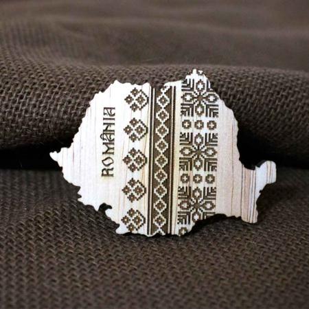 Magnet De Frigider Din Lemn, Gravat cu motive traditionale, Romania1