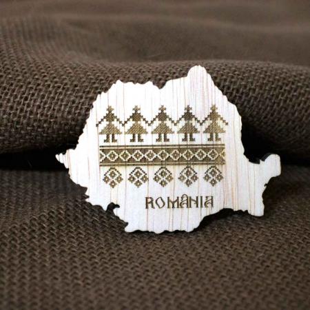 Magnet De Frigider Din Lemn, Gravat Cu Motive Traditionale, Romania [1]