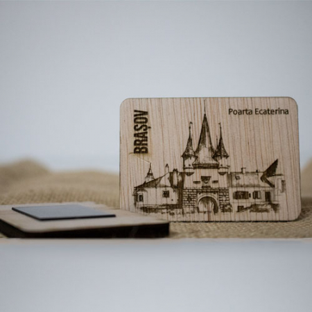 "Magnet De Frigider din lemn, gravat, ""Poarta Ecaterina"" Brasov1"