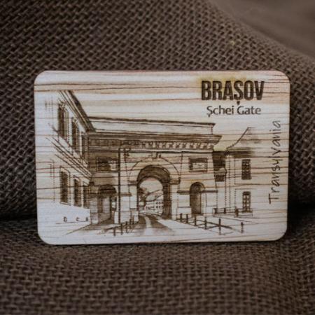 "Magnet De Frigider din lemn, gravat, ""Poarta Schei"" Brasov2"