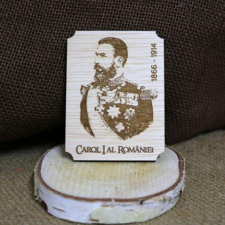 Magnet de frigider din lemn, gravat, Regele Carol I al Romaniei [0]