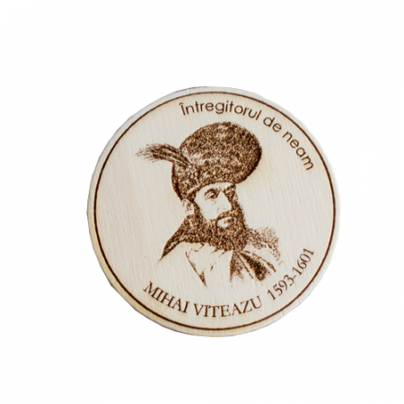 "Magnet de frigider rotund ""Mihai Viteazul"", gravat laser [0]"