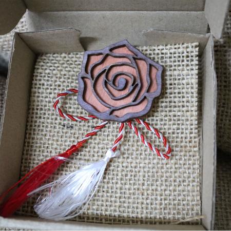 Martisor - brosa din lemn, Trandafir, portocaliu [3]