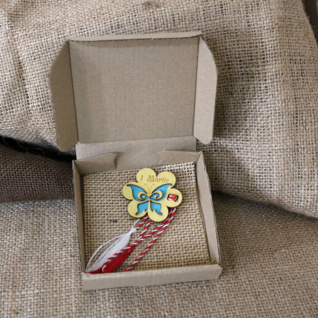 Martisor din lemn, Fluture, albastru3