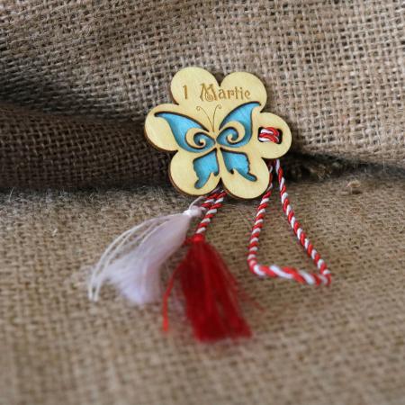 Martisor din lemn, Fluture, albastru2