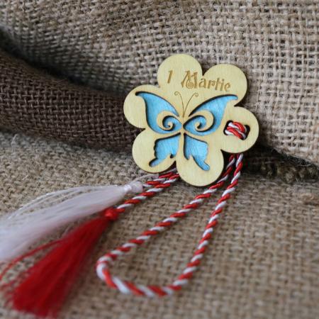 Martisor din lemn, Fluture, albastru0