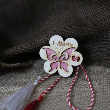 Martisor din lemn, Fluture, rosu [1]