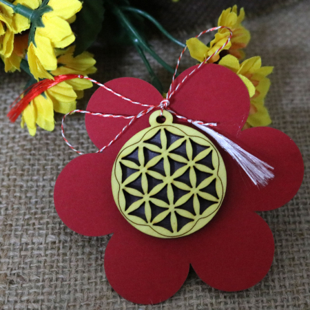 Martisor din lemn, decupat Floarea vietii, galben [4]