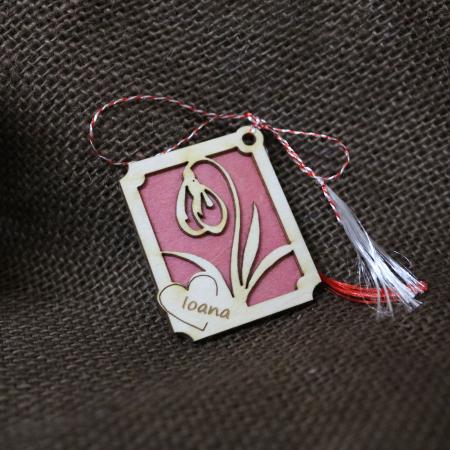 Martisor din lemn, Personalizat, Ghiocel, rosu [0]