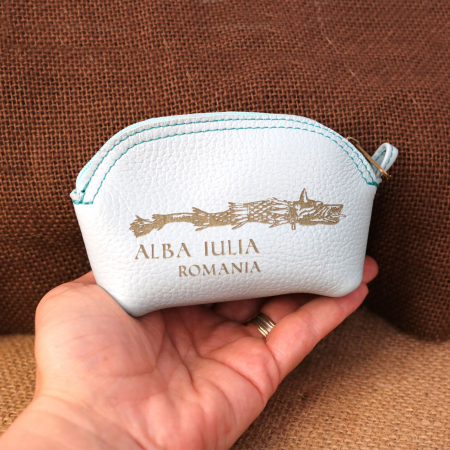Mini portofel suvenir din piele, gravat Lupul Dacic, Cetatea Alba Carolina - Alba Iulia (culoare: albastru deschis) [2]