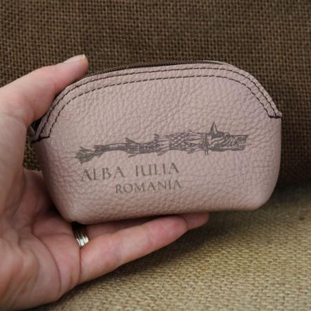 Mini portofel suvenir din piele, gravat Lupul Dacic, Cetatea Alba Carolina - Alba Iulia (culoare:  roz pudra) [2]
