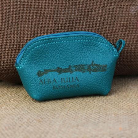 Mini portofel suvenir din piele, gravat Lupul Dacic, Cetatea Alba Carolina - Alba Iulia (culoare: turcoaz) [0]