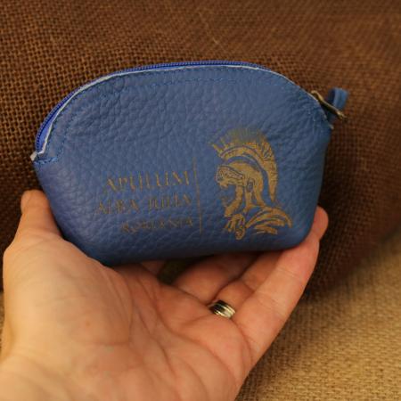 Mini portofel suvenir din piele, gravat Soldatul Roman, Cetatea Alba Carolina - Alba Iulia (culoare: albastru inchis) [2]