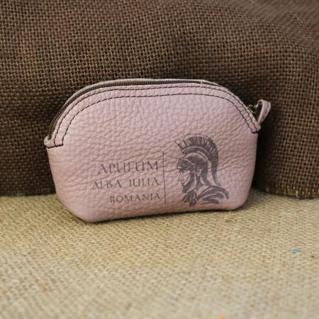 Mini portofel suvenir din piele, gravat Soldatul Roman, Cetatea Alba Carolina - Alba Iulia (culoare: roz pudra) [0]