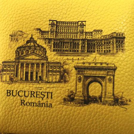 Portfard suvenir din piele, gravat, Visit Bucuresti [4]