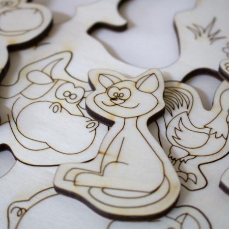 """Puzzle din lemn personalizat , pentru copii,  """"Ferma Animalelor""""4"""