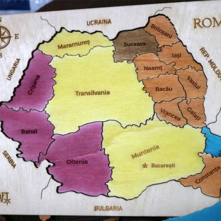 Puzzle Dublu Din Lemn, Gravat, Harta Romaniei Pe Judete si Regiuni11