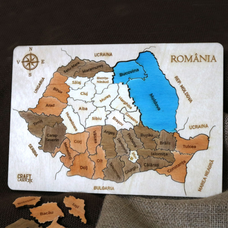 Puzzle Dublu Din Lemn, Gravat, Harta Romaniei Pe Judete si Regiuni6