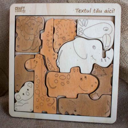 """Puzzle Educativ Din Lemn, Gravat """"Aduna Animalele"""" [0]"""