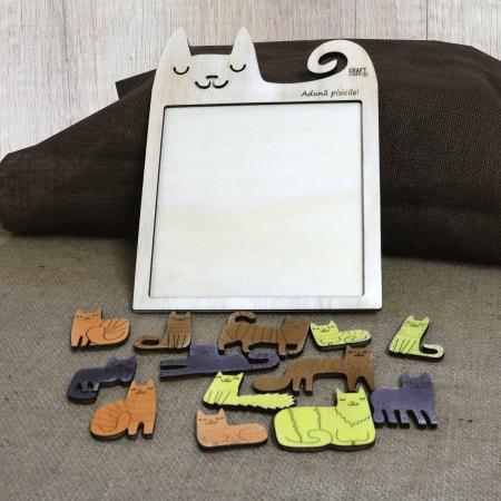 "Puzzle Educativ Din Lemn, Gravat ""Aduna pisicile""3"