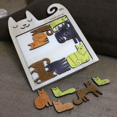 "Puzzle Educativ Din Lemn, Gravat ""Aduna pisicile""2"