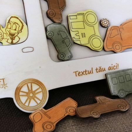 """Puzzle Educativ Din Lemn, Gravat """"Camionul cu masini""""5"""