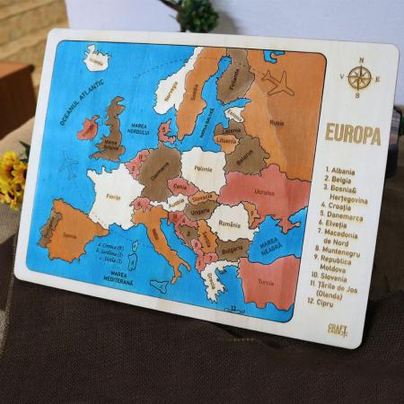 Puzzle Educativ Din Lemn, Gravat, Harta Europei Pe Tari si Capitale3