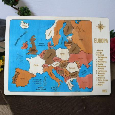 Puzzle Educativ Din Lemn, Gravat, Harta Europei Pe Tari si Capitale0