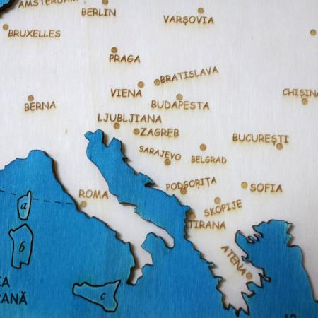 Puzzle Educativ Din Lemn, Gravat, Harta Europei Pe Tari si Capitale9