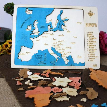 Puzzle Educativ Din Lemn, Gravat, Harta Europei Pe Tari si Capitale8