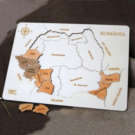 Puzzle educativ Din Lemn, gravat, Harta Romaniei pe judete5