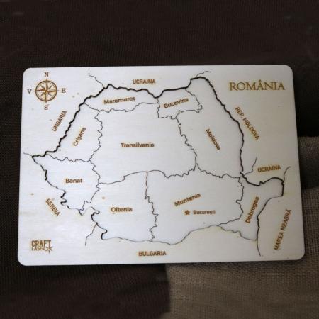 Puzzle educativ Din Lemn, gravat, Harta Romaniei pe judete6
