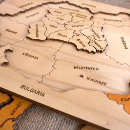 Puzzle educativ Din Lemn, gravat, Harta Romaniei pe judete1